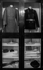 Joe Wheeler uniforms from the Civil War and the Spanish American War (photo by Marjorie Kaufman)